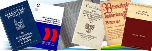 Bild: Bildcollage aus verschiedenen Büchern, wie Grundordung, Berkenntnischriften und Katechismen; Quelle: Collage: Annette Wohlfeil