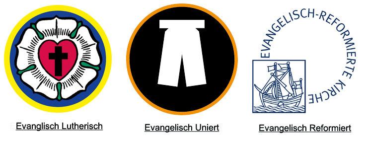 Bild: Bildcollage aus Lutherrose rechts, in der Mitte weißes Beffchen auf schwarzem Grund und links Logo der Reformierten Kirche; Quelle: Logos der lutherischen und Reformierten Kirche/Beffchen-EKD